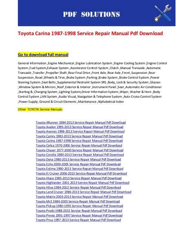 1998 toyota corolla repair manual