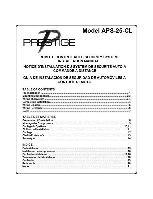 prestige car alarm remote manual