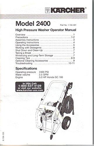 karcher pressure washer manual k 3.86