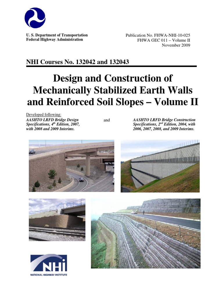 reinforced earth wall construction manual