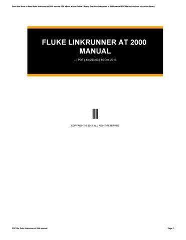 fluke linkrunner at 2000 manual pdf