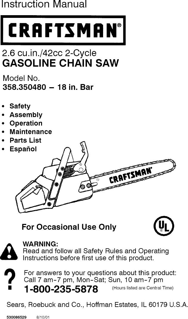 craftsman 18 42cc chainsaw parts manual