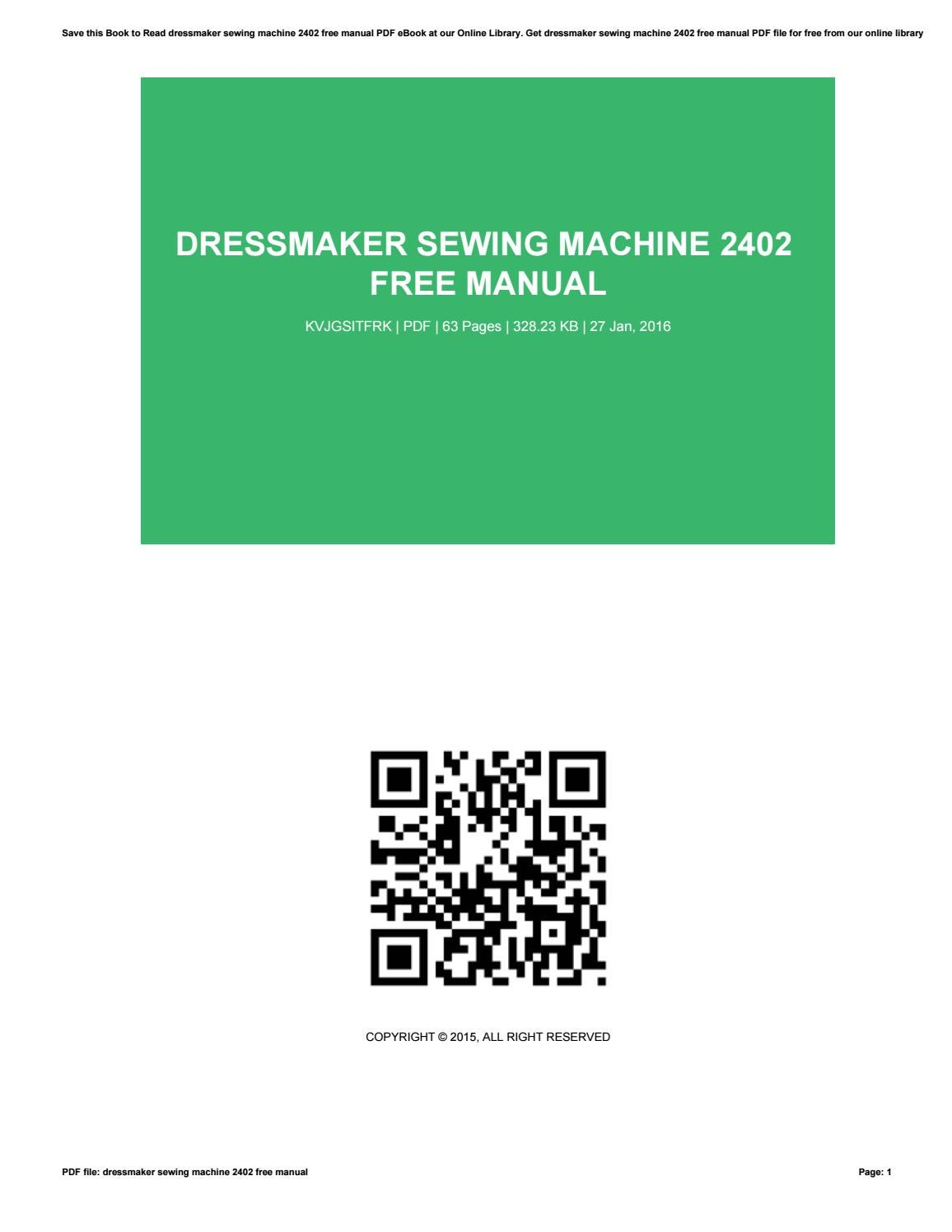 free dressmaker sewing machine manual