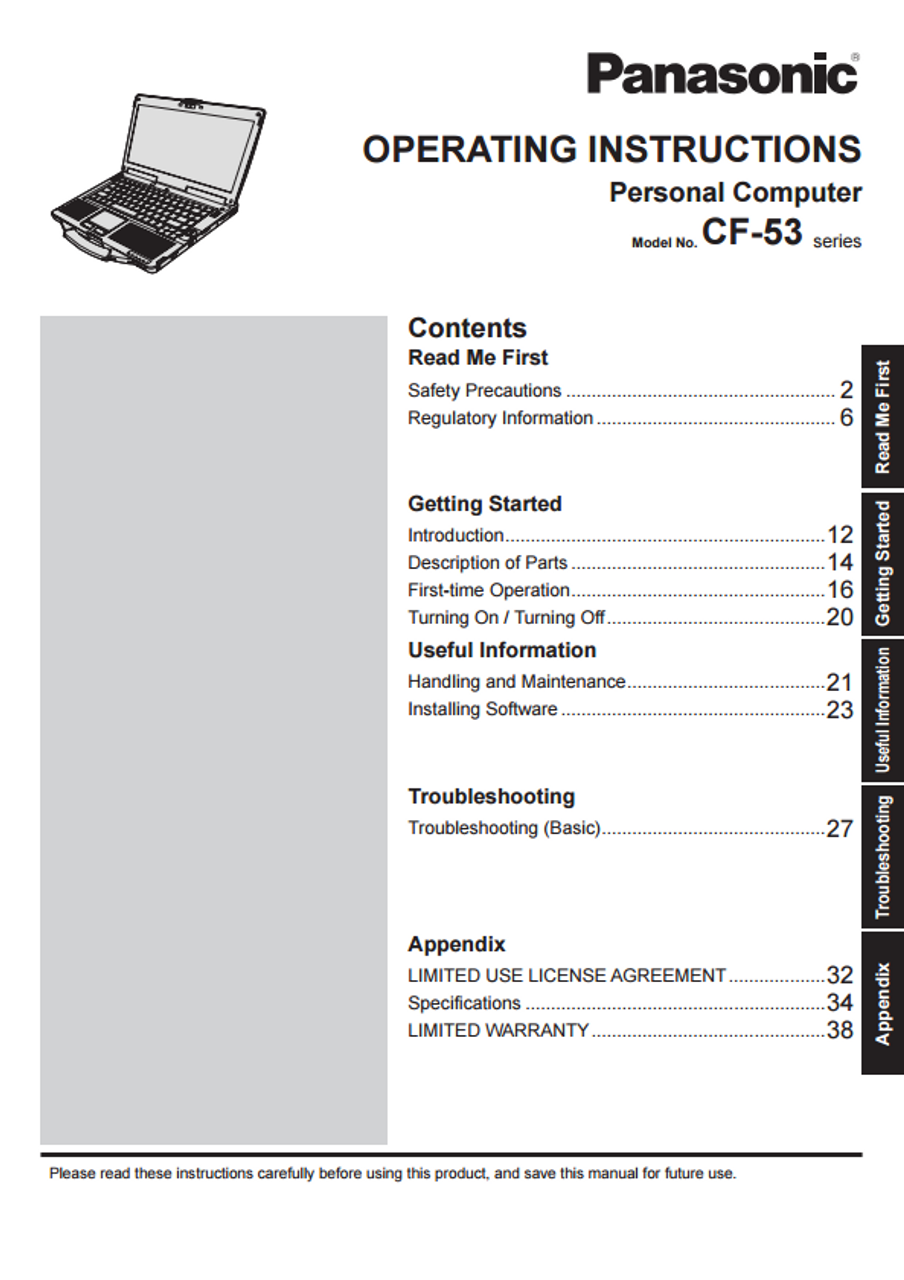 panasonic toughbook cf 29 manual